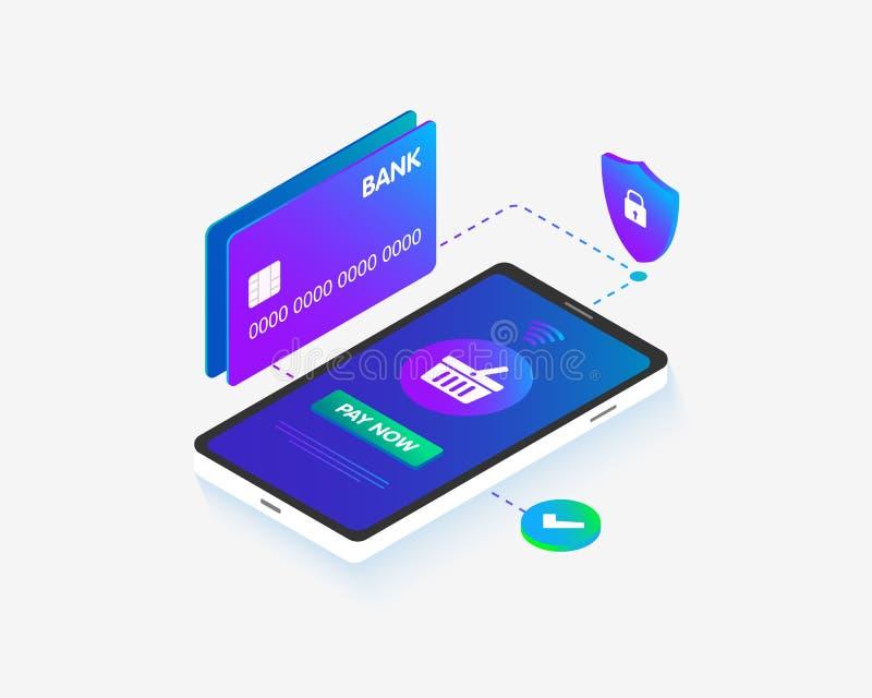 Da imagem isométrica do conceito 3D do cartão do telefone e de banco projeto liso O conceito do móbil checkout os pagamentos, com ilustração stock