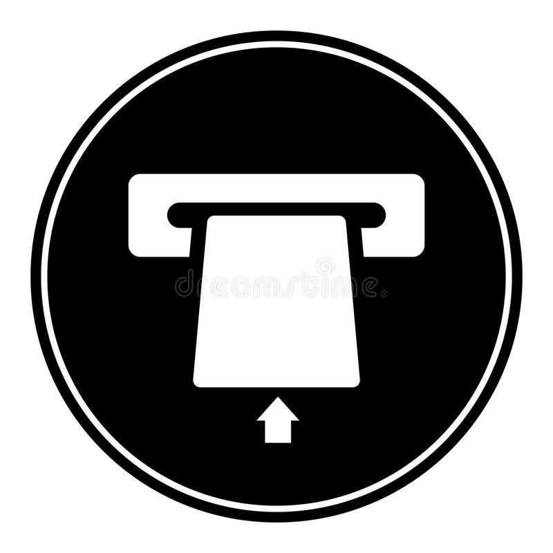 Da inserção do cartão ícone circular, monocromático do ATM aqui Isolado no branco ilustração stock