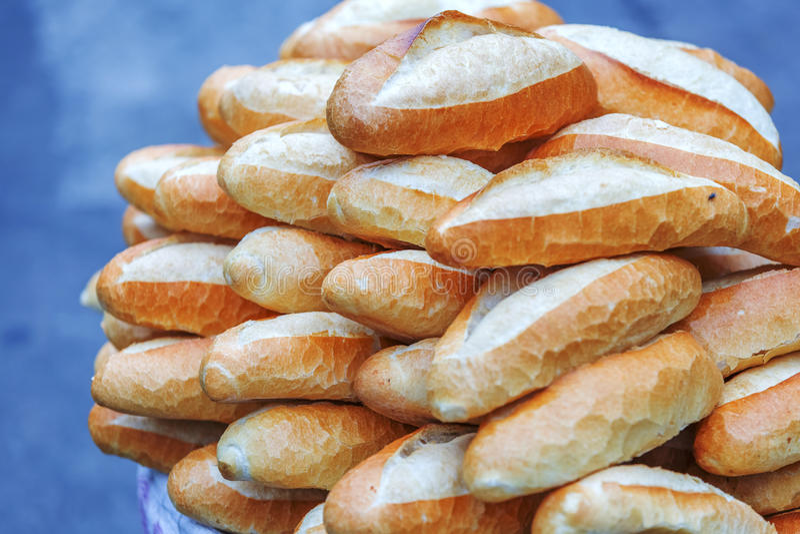 Da Lat market, Da Lat city, Lam province, Vietnam. Hot and crispy breads in Da Lat market, Da Lat city, Lam province, Vietnam. Da Lat is called the city of stock photography