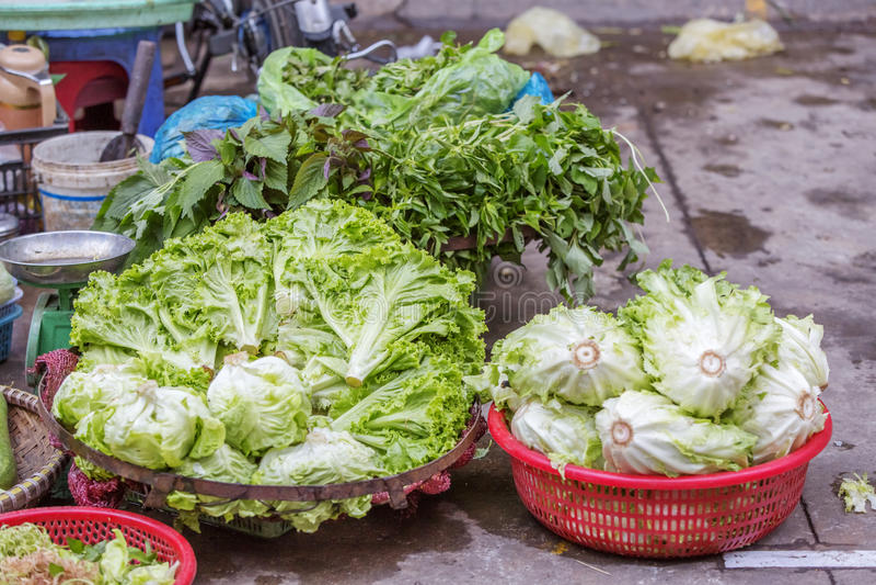 Da Lat market, Da Lat city, Lam province, Vietnam. Vegetables stall in Da Lat market, Da Lat city, Lam province, Vietnam. Da Lat is called the city of flower royalty free stock photo