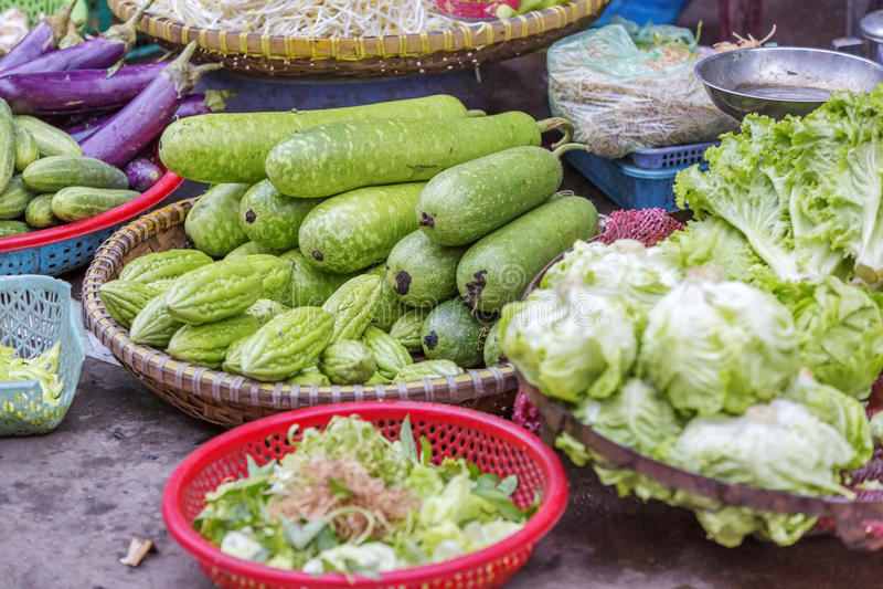 Da Lat market, Da Lat city, Lam province, Vietnam. Vegetables stall in Da Lat market, Da Lat city, Lam province, Vietnam. Da Lat is called the city of flower stock photo