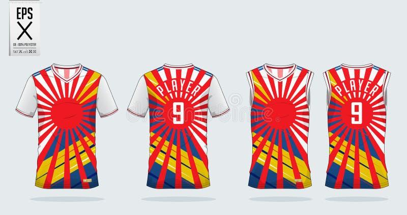 Da listra vermelha do nascer do sol e da cor de Japão o esporte do t-shirt projeta o molde para o jérsei de futebol, o jogo do fu ilustração do vetor
