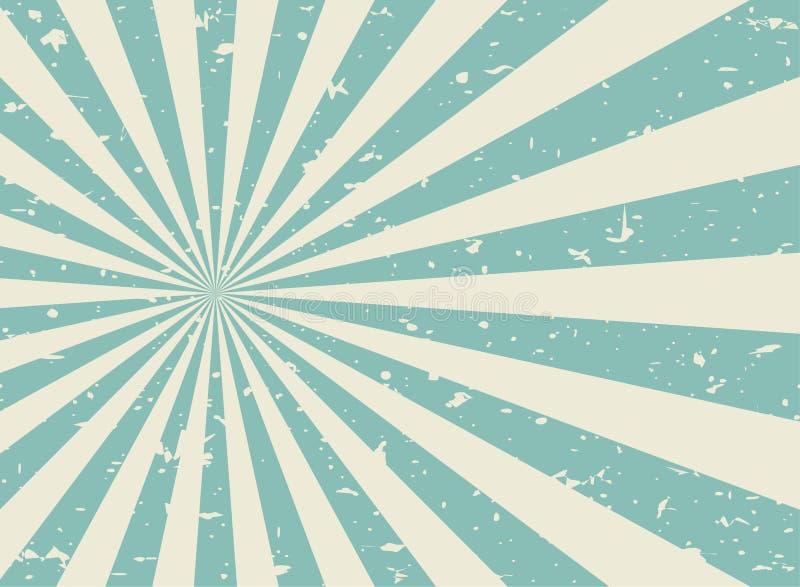 Da luz solar fundo desvanecido retro do grunge largamente fundo verde e bege da explosão de cor ilustração stock