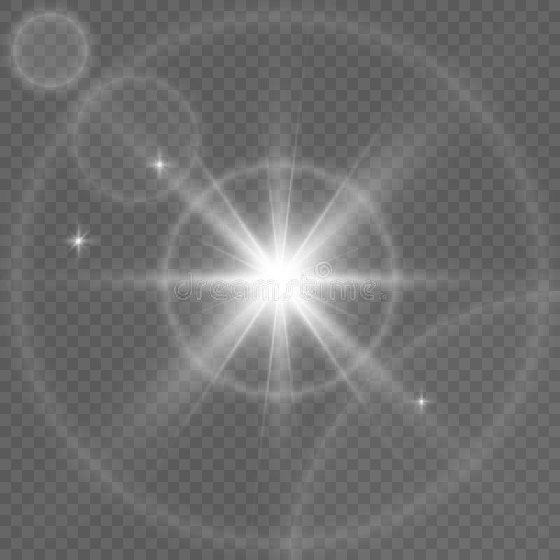 Da luz solar transparente clara do vetor da ilustração do fulgor efeito especial do alargamento da lente ilustração stock