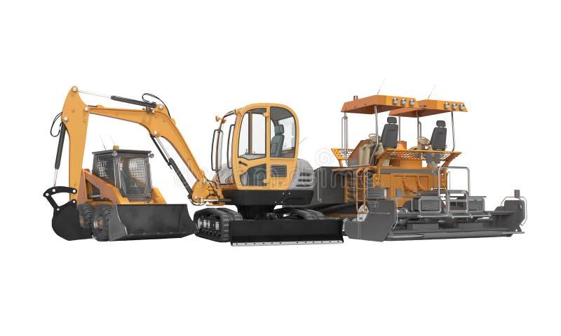 Da máquina escavadora pesada do equipamento do conceito ilustração da opinião dianteira 3d do paver do carregador mini no fundo b ilustração stock