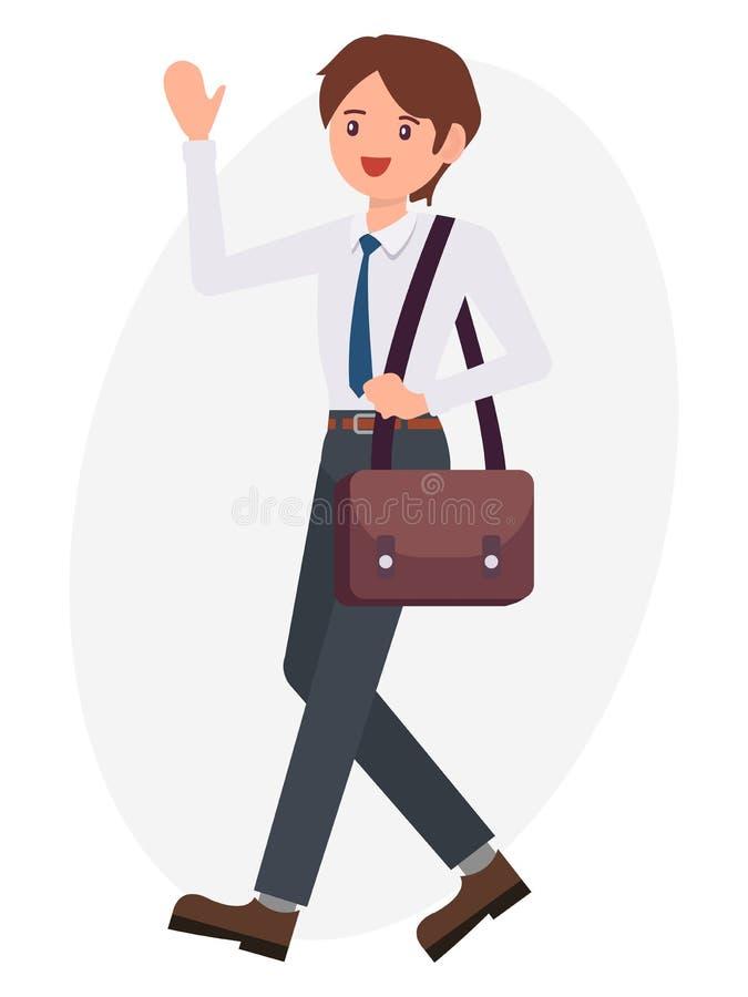 Da mão masculina da onda do homem de negócio do projeto de personagem de banda desenhada sa de cumprimento ilustração do vetor