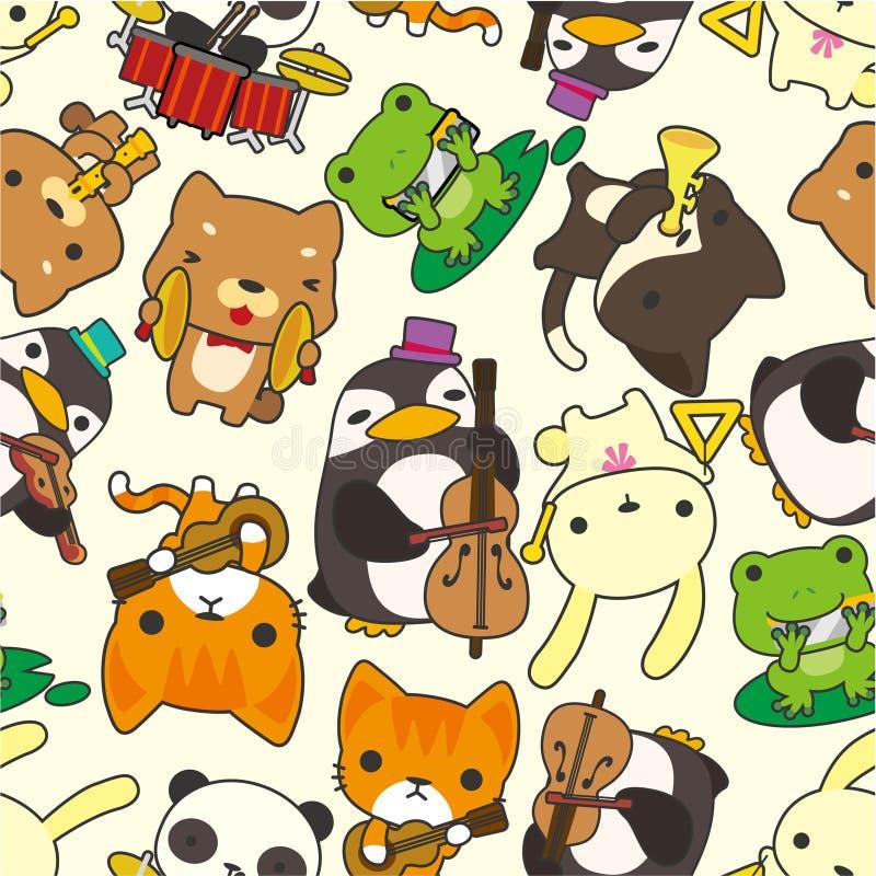 Da música animal do jogo dos desenhos animados teste padrão sem emenda ilustração do vetor