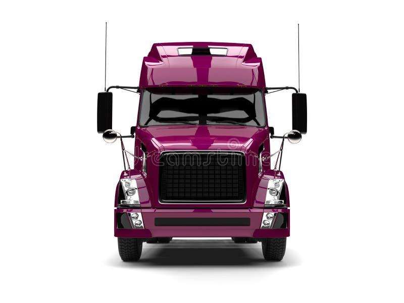 Da magenta caminhão de reboque metálico semi - vista dianteira ilustração royalty free