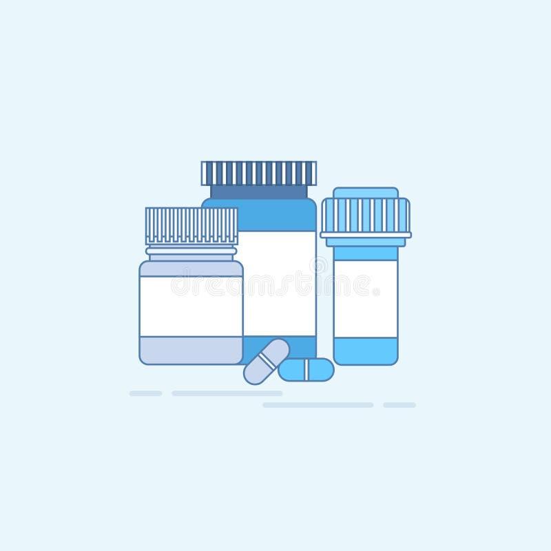 Da medicina médica dos cuidados médicos da aplicação da prescrição das medicinas a bandeira em linha da Web dilui a linha ilustração do vetor