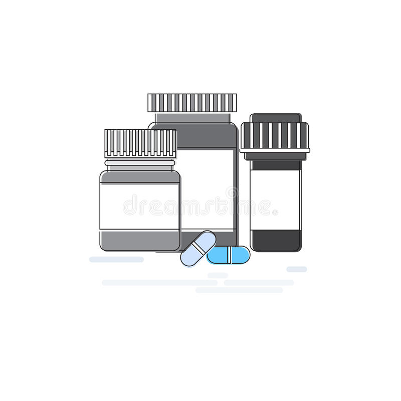 Da medicina médica dos cuidados médicos da aplicação da prescrição das medicinas a bandeira em linha da Web dilui a linha ilustração royalty free