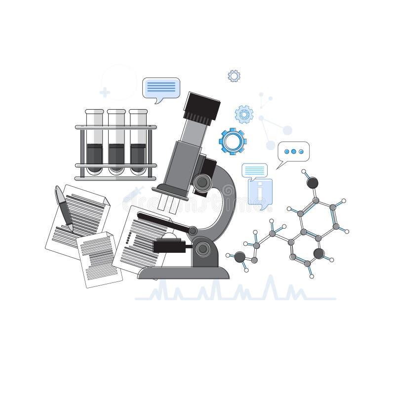 Da medicina médica dos cuidados médicos da aplicação dos diagnósticos a bandeira em linha da Web dilui a linha ilustração stock