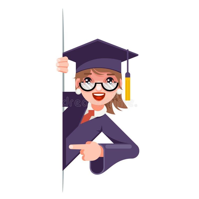 Da menina do olhar promoção de canto graduada para fora que aponta o tampão fêmea da graduação do projeto de caráter da mulher do ilustração stock