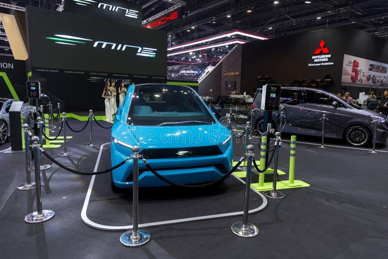 Da mobilidade internacional da MINA da exposição automóvel 2018 de Banguecoque carro tailandês da eletricidade ou de carro de EV  foto de stock royalty free