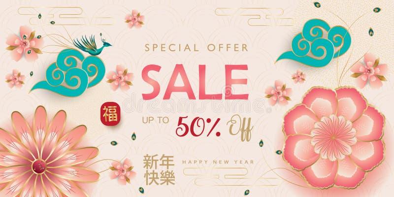 Da mola tradicional do ano lunar de ano novo da bandeira 2019 da venda os sakuras florais chineses felizes da flor assinam ilustração do vetor