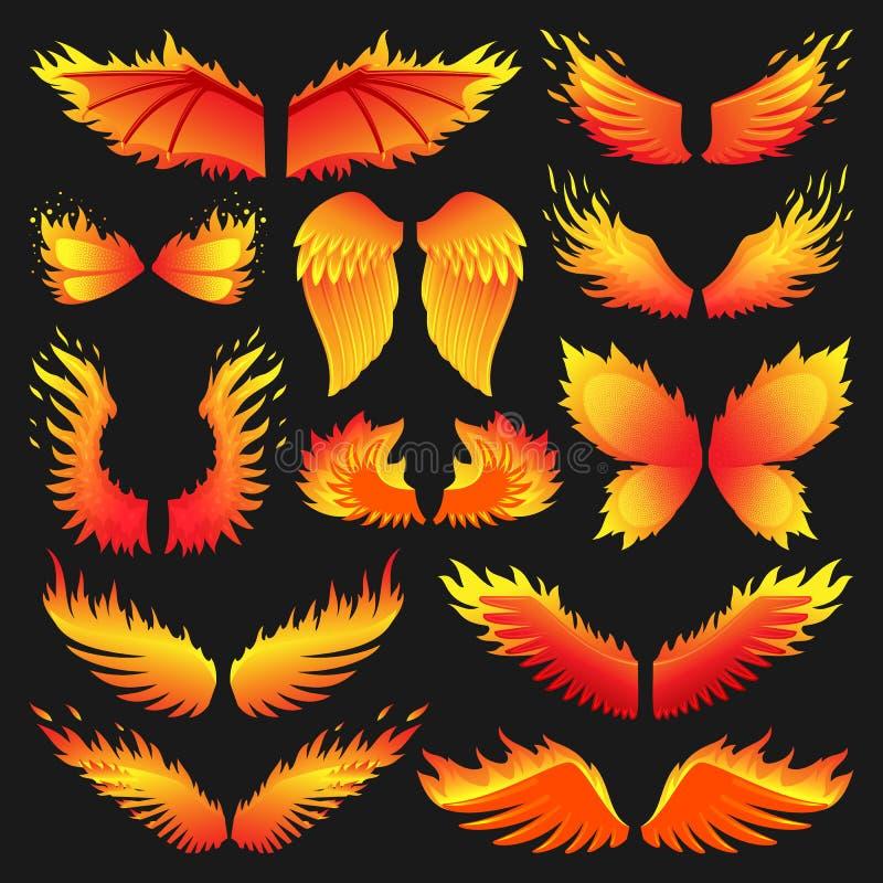 Da mosca ardente da chama da pena da fantasia das asas do fogo do pássaro da chama ilustração quente de ardência do vetor da arte ilustração do vetor
