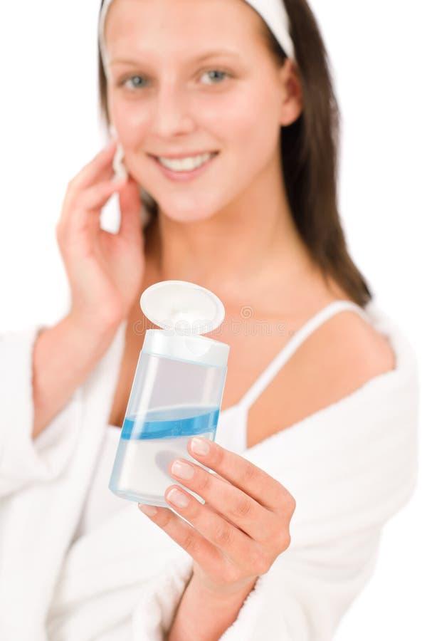 Da mulher facial do adolescente do cuidado da acne pele limpa fotos de stock royalty free