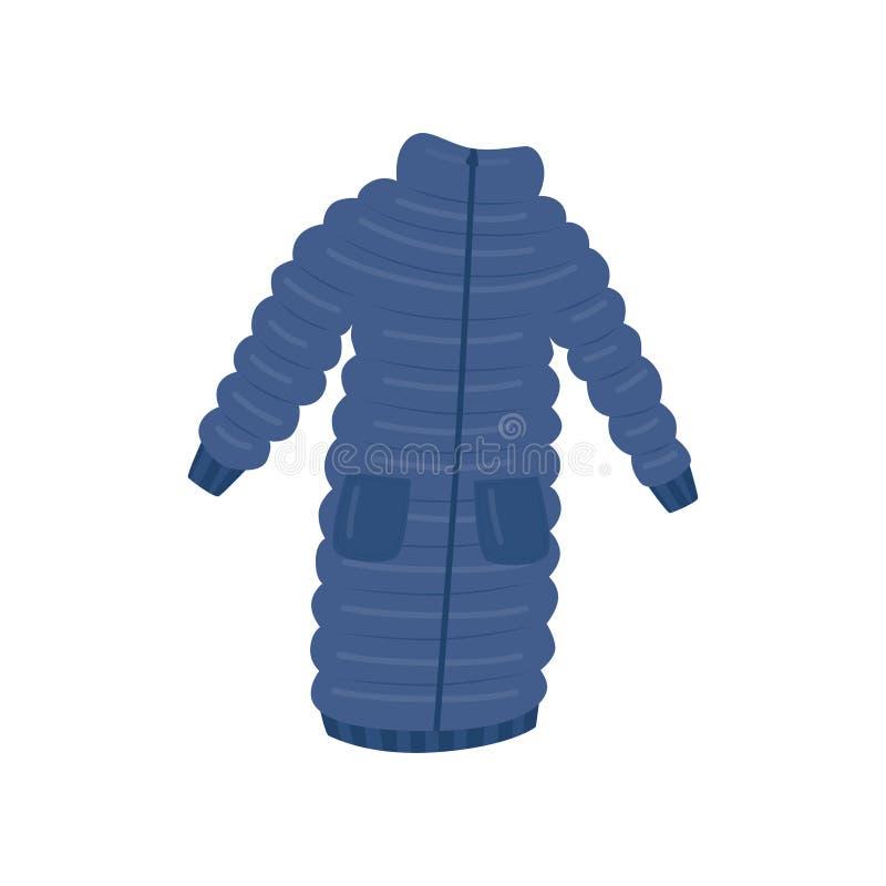 Da mulher revestimento azul longo para baixo com dois bolsos Vestuário morno para a estação fria Menina feliz na roupa morna do i ilustração royalty free