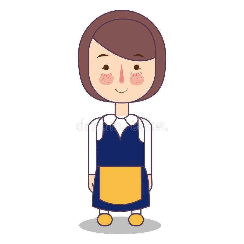 Da mulher tradicional bonito da menina dos desenhos animados da forma da roupa de Europa do escandinavo da Suécia vetor vestindo  ilustração royalty free