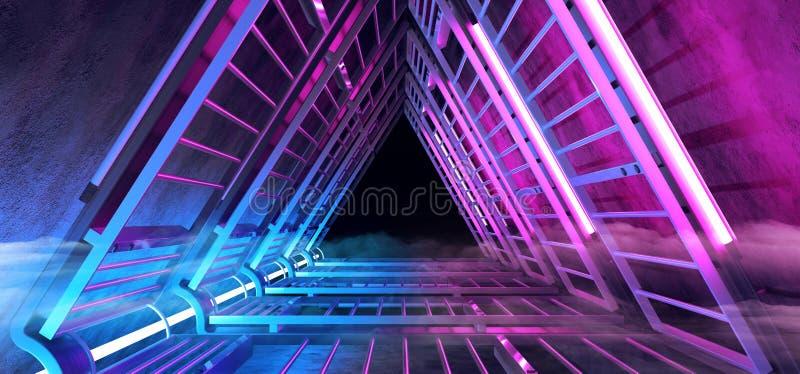 Da névoa futurista do fumo de Sci Fi corredor dado forma de incandescência de néon do túnel triângulo azul roxo com as estruturas ilustração do vetor