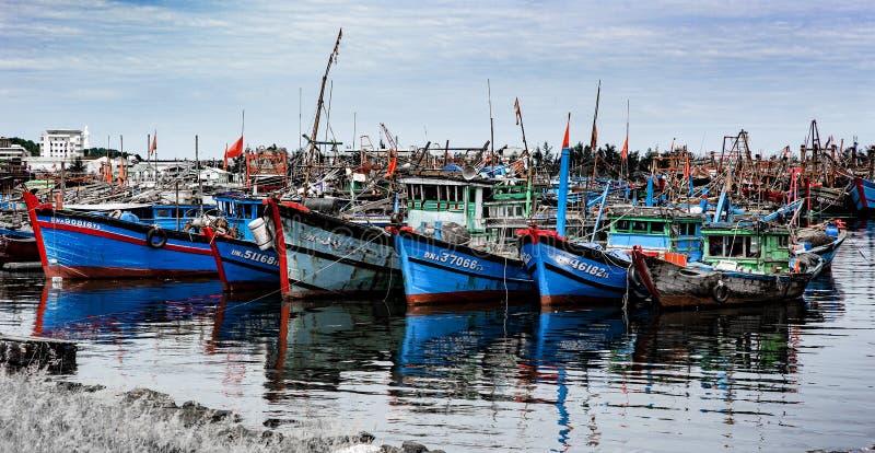 Fishing port in danang in Vietnam stock photography
