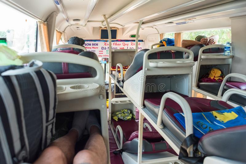 Da Nang, Vietnam: an interior of a sleeper bus Da Nang - Lao Bao royalty free stock images