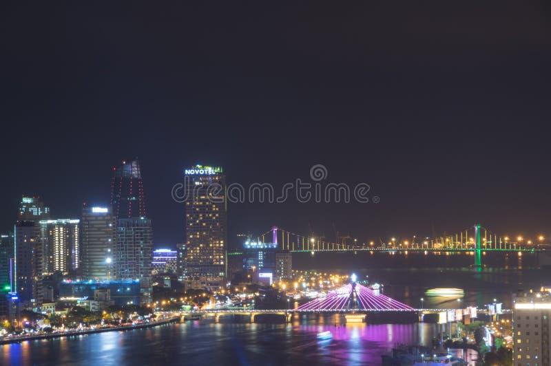 Da Nang waterfront at night royalty free stock photos
