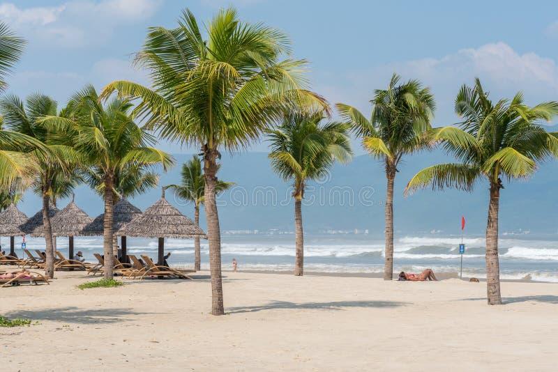 Da Nangstrand met kokospalmen royalty-vrije stock foto's
