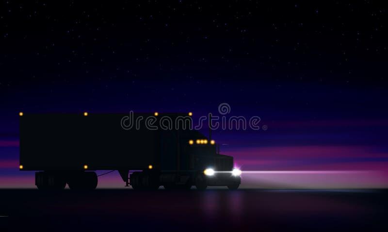 Da noite grande do equipamento caminhão grande clássico com faróis, camionete seca semi que monta semi na obscuridade na estrada  ilustração do vetor