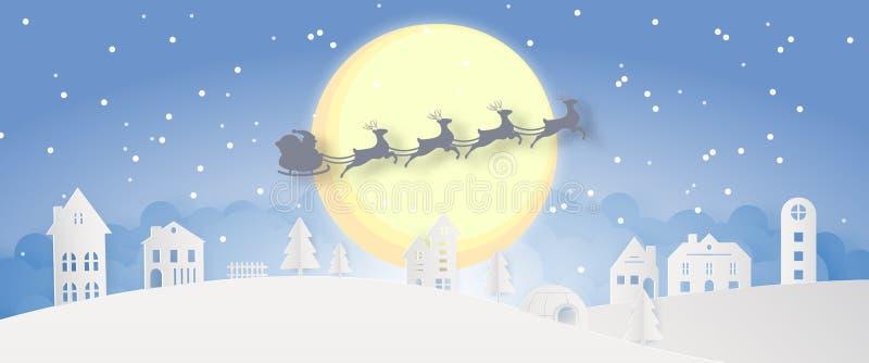 Da noite nevado do dia da cidade do Feliz Natal silhueta azul Santa Claus do partido do ano do fim do festival do Xmas e do ano n ilustração royalty free