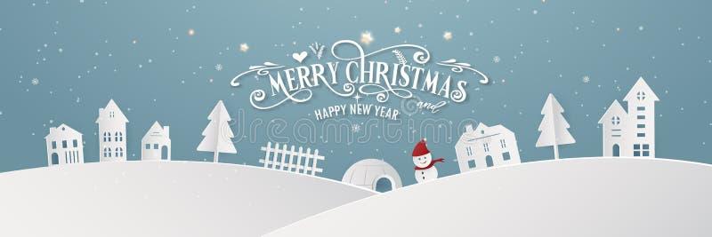 Da noite nevado do dia da cidade do Feliz Natal silhueta azul Santa Claus do partido do ano do fim do festival do Xmas e do ano n ilustração do vetor