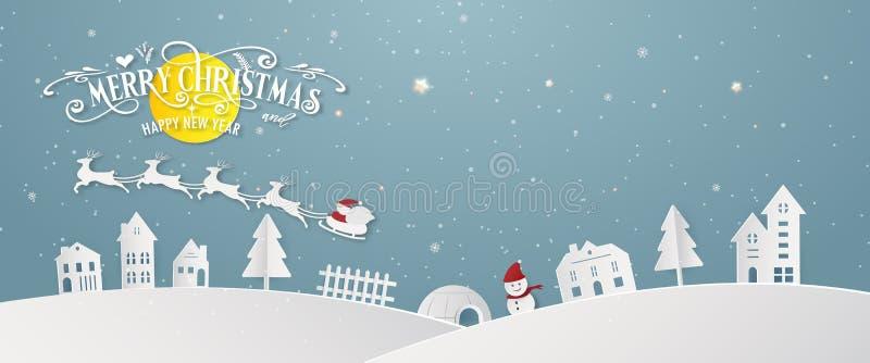 Da noite nevado do dia da cidade do Feliz Natal silhueta azul Santa Claus do partido do ano do fim do festival do Xmas e do ano n ilustração stock