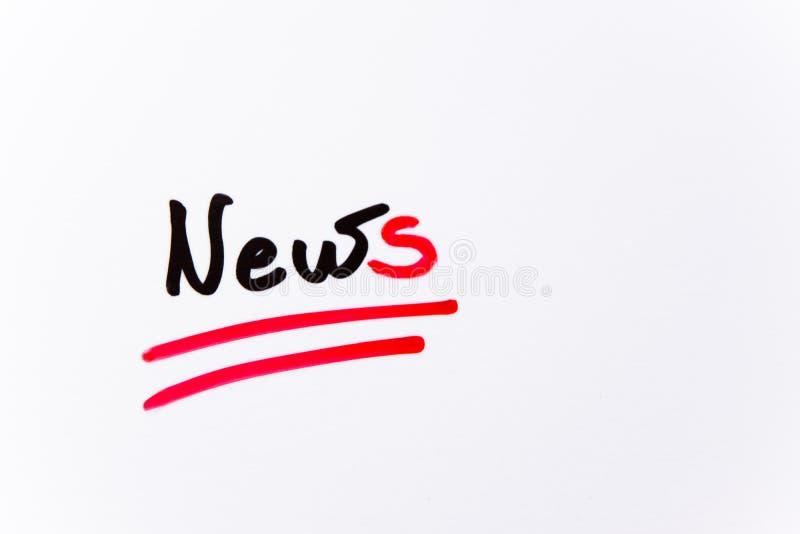 ` Da notícia do ` do texto no fundo branco imagens de stock royalty free