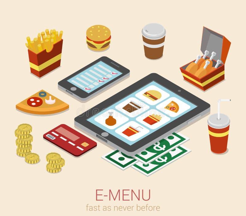 da ordem em linha do menu do dispositivo móvel do E-menu conceito 3d isométrico liso ilustração stock