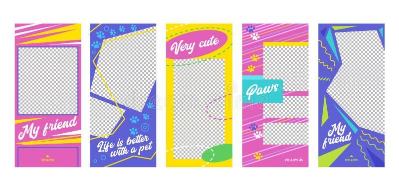 Da página móvel bonito mesma do App do amigo do animal de estimação da história de Instagram grupo a bordo da tela Projeto cor-de ilustração stock