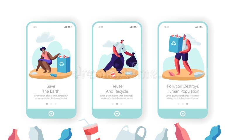 Da página móvel do App do problema da poluição ambiental a tela a bordo ajustou voluntários multirraciais escolhe acima a maca no ilustração royalty free