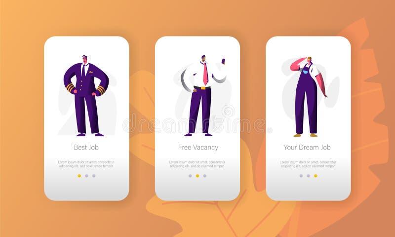 Da página móvel vaga do App do caráter da oportunidade da profissão do trabalho do negócio grupo a bordo da tela Candidato para o ilustração royalty free