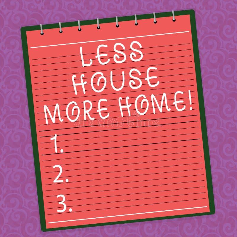 Da palavra da escrita do texto casa menos mais casa O conceito do negócio para tem um lugar confortável morno a viver com o amor  ilustração stock