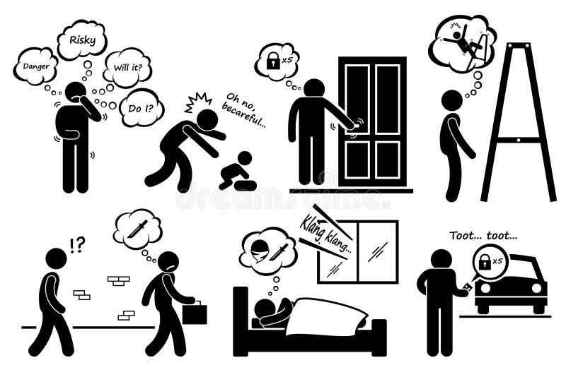 Da paranoia dos povos ícones paranoides de Cliparts da preocupação demasiado ilustração royalty free