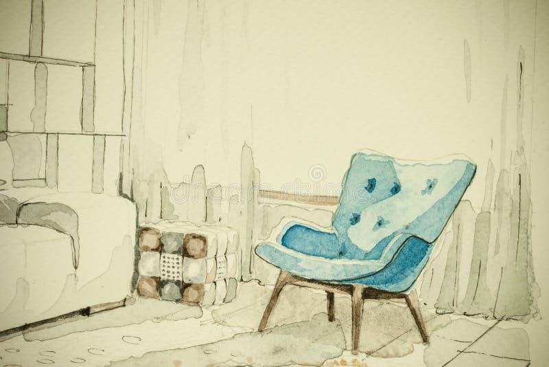 Da perspectiva a mão livre do esboço da tinta do aquarelle da aquarela desenho arquitetónico de partes de mobília diferentes ilustração do vetor