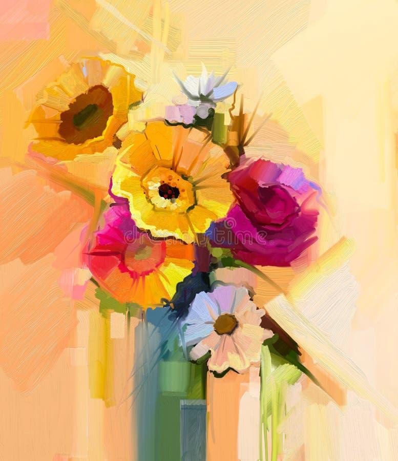 Da pintura a óleo vida ainda da flor branca, amarela e vermelha ilustração royalty free