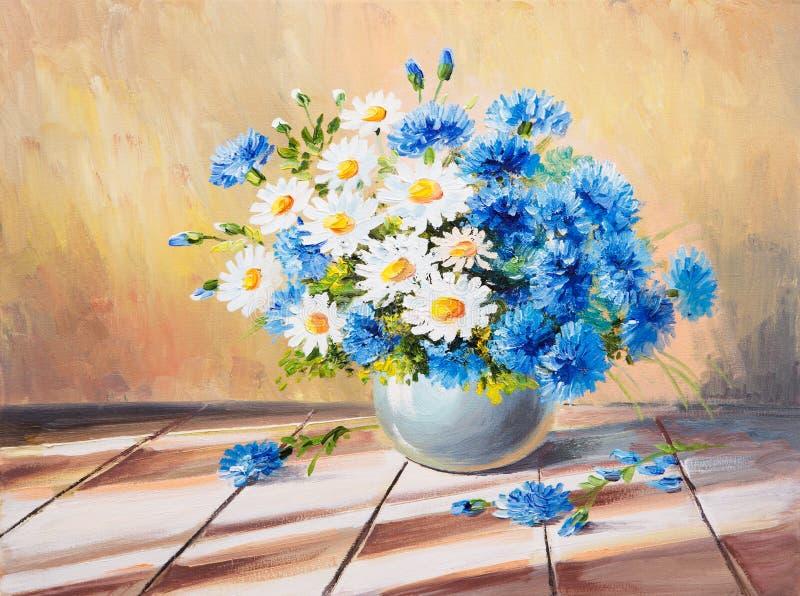 Da pintura a óleo vida ainda, ramalhete das flores em uma tabela de madeira ilustração stock