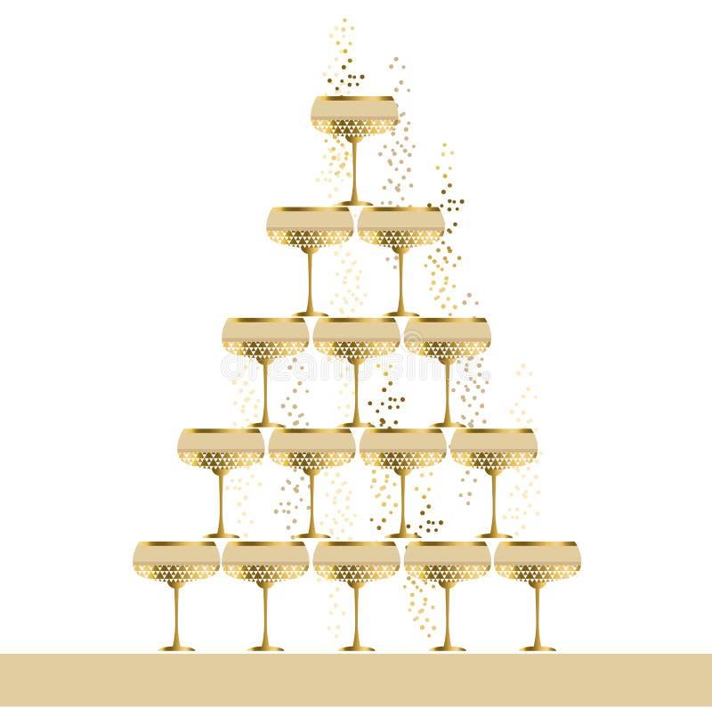 Da pirâmide de vidro efervescente do champanhe do ouro ilustração lisa do vetor ilustração stock