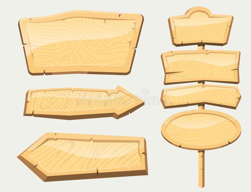 Da placa de madeira da estrada do quadro indicador do diretório tabuleta de madeira que indica a ilustração do vetor da maneira d ilustração do vetor