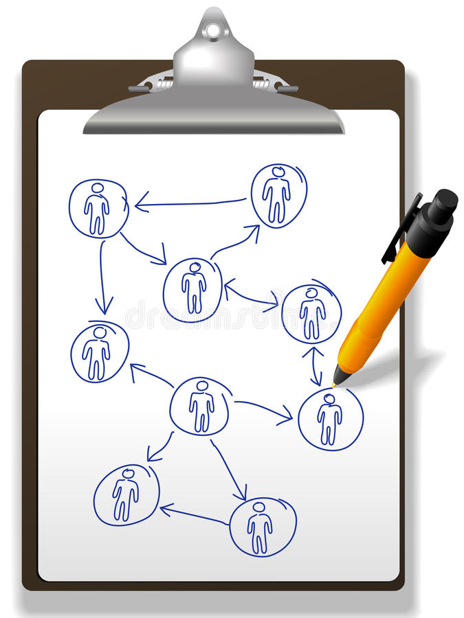Da planta de rede do diagrama executivos da pena da prancheta ilustração royalty free