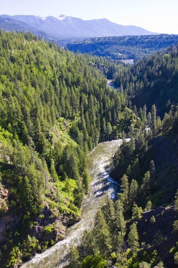 Da ponte sobre o desfiladeiro Idaho norte do rio de Moyie imagem de stock