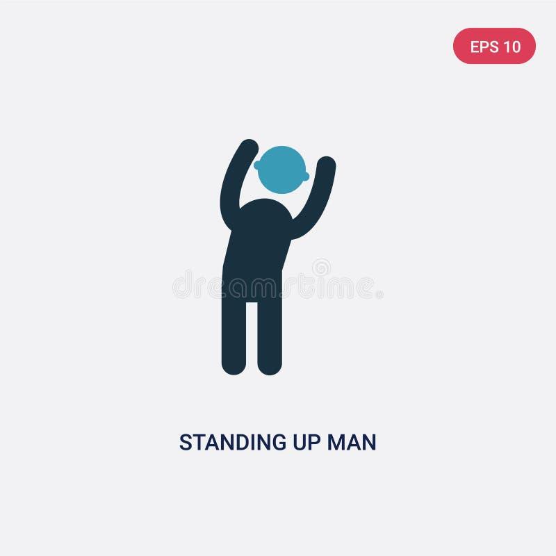 Da posição ícone de duas cores do vetor do homem acima do conceito dos povos a posição azul isolada acima do símbolo do sinal do  ilustração do vetor