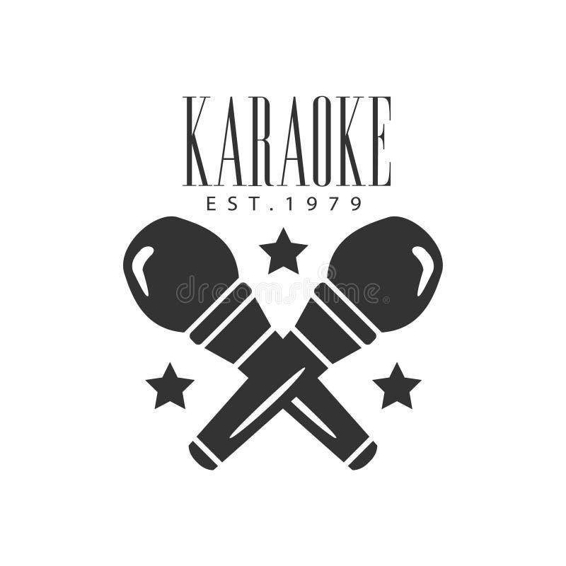 Da promoção monocromática superior do clube da barra da qualidade do karaoke dos microfones molde retro cruzado do projeto do vet ilustração do vetor