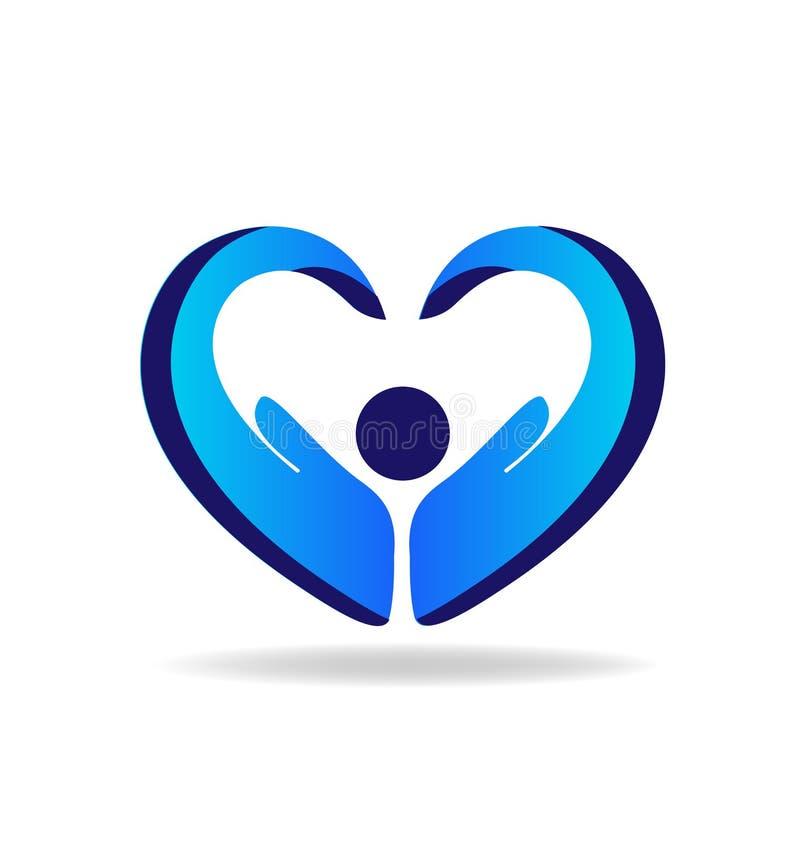 Da a protección vector azul del logotipo de la forma del corazón ilustración del vector