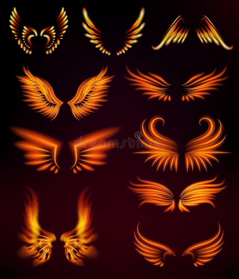 Da queimadura impetuosa místico do fulgor da mosca do burning da pena da fantasia das asas do fogo do pássaro ilustração quente d ilustração stock