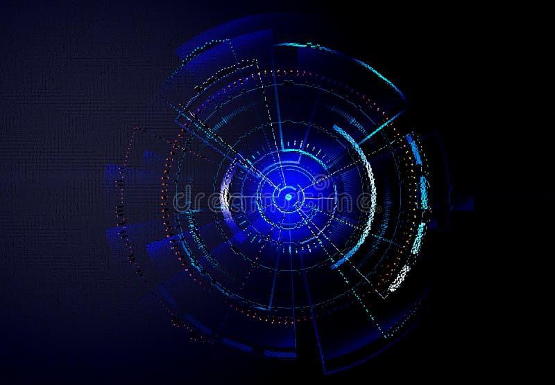 Da relação do hud da plataforma do sumário do fundo do pulso aleatório do efeito fundo futuro tecnologico tecnologicamente, hud d ilustração royalty free